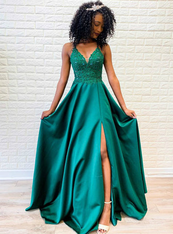 Green Satin Spagehtti Straps Cross Straps Back Long Prom Dress With Beading