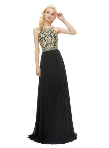 A-line Black Chiffon Embroidery Halter Backless Prom Dress