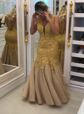 Illusion Back V-Neck Formal Long Dress with Gold Lace-Appliques Prom Dress