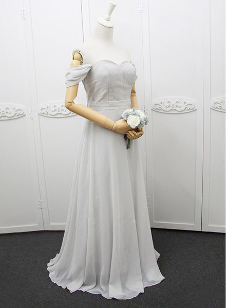 Cheap Off The Shoulder Chiffon Gray Bridesmaid Dress