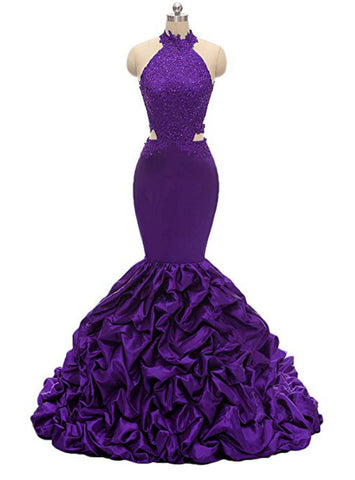 Sexy Purple Mermaid Satin Halter Backless Appliques Beading Long Prom Dress