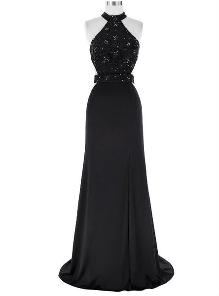A-Line Evening Dress Featuring Lace Appliques Black Floor Length Prom Dress Chiffon