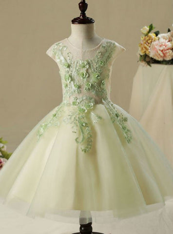 Lace Appliques Flower Pearl Wedding Party Dresses 2017 Flower Girl Dresses