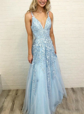 A-Line Sky Blue V Neck Tulle Straps Lace Sleeveless Prom Dress