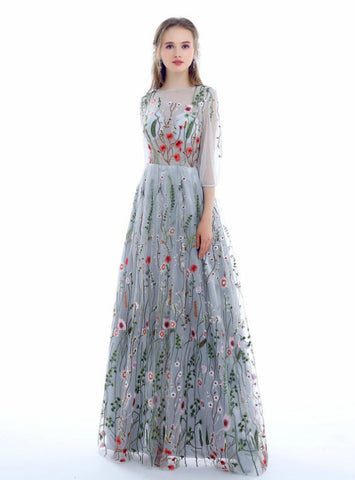 A-line Long Sleeves 3/4 Sleeve Floral Embroidery See Through Long Prom Dresses