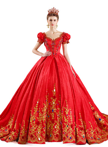 Red Ball Gown Sweetheart Puff Sleeve Gold  Lace Appliuqes Wedding Dress