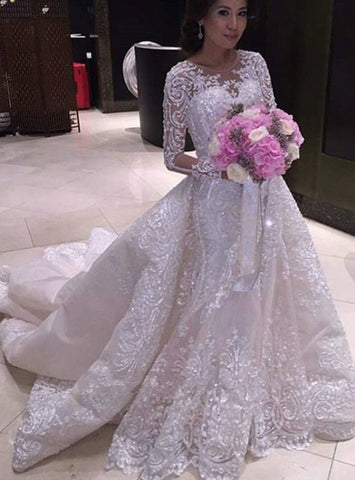 Luxury Wedding Dress Ball Gown Long Sleeve Appliques