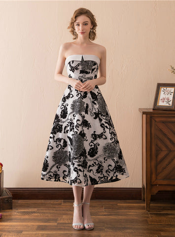 A-Line Vintage Satin Print Strapless Tea Length Homecoming Dress