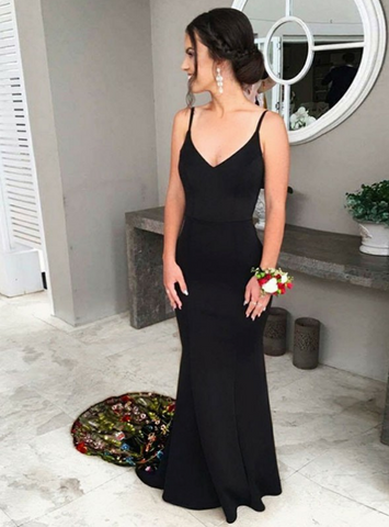 Sexy Black Mermaid Spaghetti Straps Long Prom Dress with Embroidery