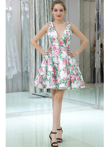 A-Line Floral Print Short Satin V Neck Homecoming Dress