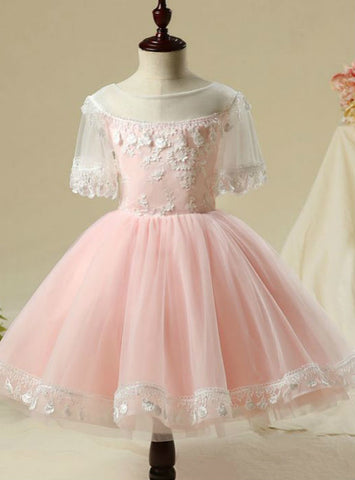 1/2 Sleeves Tassel Flower Appliques 2017 Flower Girl Dresses Blushing Pink Short Ball Gown