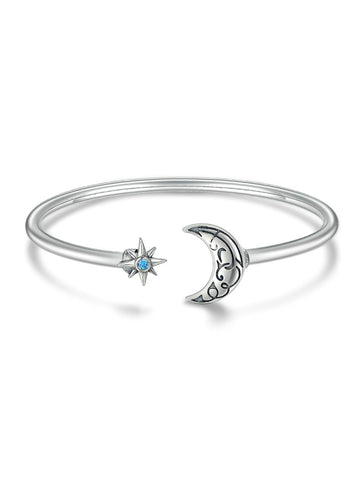 925 Sterling Silver Moon Star Legend Cuff Bracelets