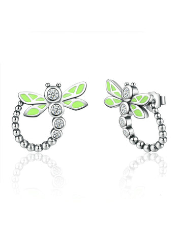 925 Sterling Silver Dragonfly Animal Drop Earrings