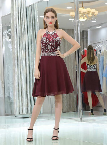 A-Line Burgundy Halter Chiffon Backless Crystal Homecoming Dress
