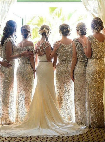 Elegant sparkle sequin bridesmaid dress long bridesmaid dress