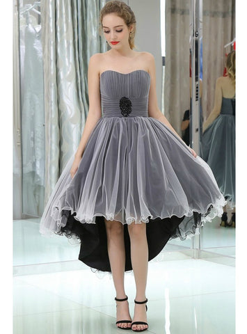 A-Line Strapless High Low Tulle Black And White Color Prom Dress