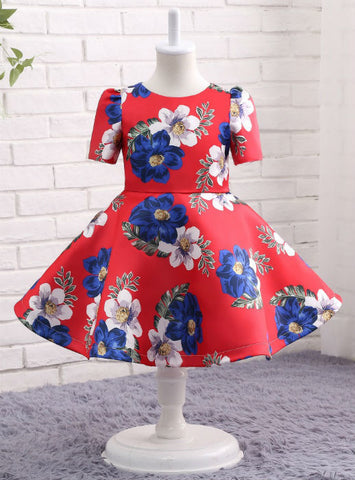 Red Print Flower Girl Dress Ball Gown Knee-Length Short Sleeve