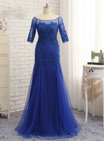 Stunning Half Sleeves Royal Blue 2017 Mother Of The Bride Dresses Mermaid
