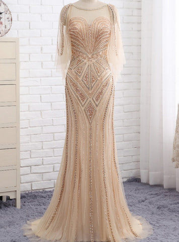 Romantic One Shoulder Long Sleeves Floor Length Mermaid Beaded Evening Dress