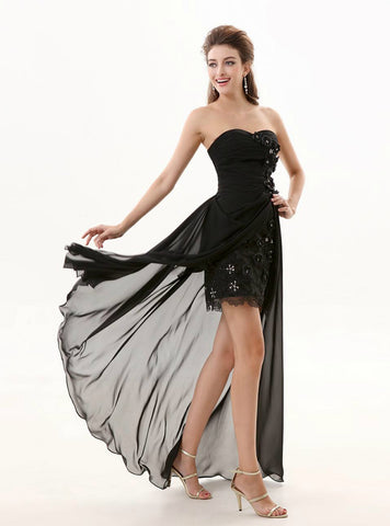 Glamorous Black Sheath Chiffon Sweetheart Bridesmaid Dress