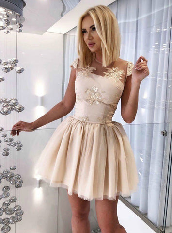 A Line Backless Champagne Appliques Short Homecoming Dress