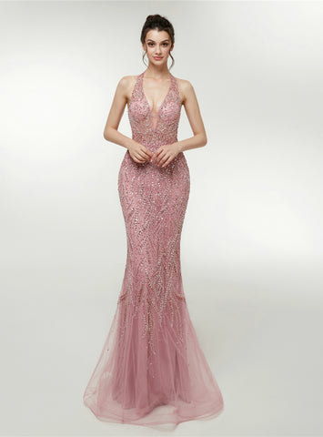 Pink Mermaid Tulle Halter Backless Floor Length Prom Dress With Beading