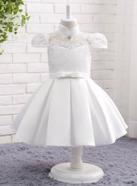 2017 Cap Sleeves Party Dresses Flower Girl Dress Ball Gown Satin Lace High Neck