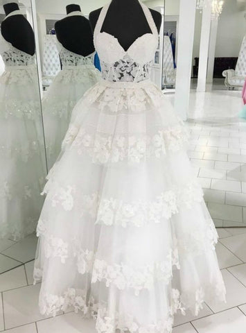 A-Line White Halter Neck Sleeveless Lace Floor Length Prom Dress