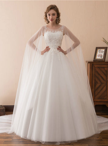 White Tulle Lace Appliques Backless Sleeveless Long Wedding Dress