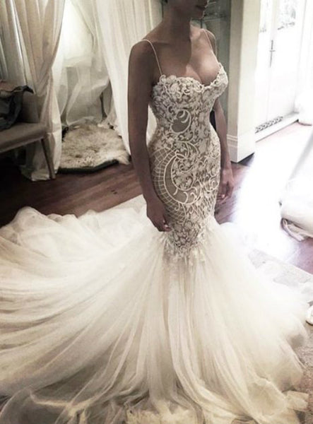 Mermaid Wedding Dress with Spaghetti Straps Wedding Gown Princess Wedding Dresses