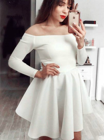 White Satin Off the Shoulder Long Sleeves Homecoming Dress