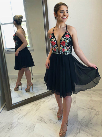 A-Line Black Chiffon Halter Neckline Short Homecoming Dresses