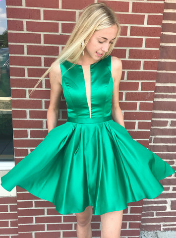 A-Line Princess Green Satin Backless Homecoming Dress With Pocket