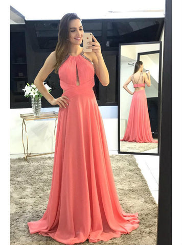 Long Prom Dresses Ruched Sleeveless Party Gowns Backless A line Chiffon