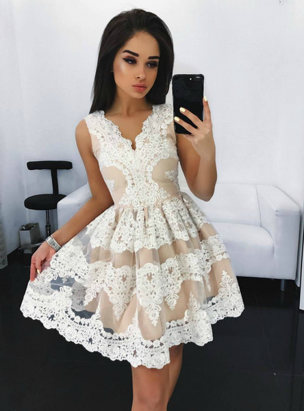 Fairy Tale Short Lace Sleeveless Homecoming Party Dress