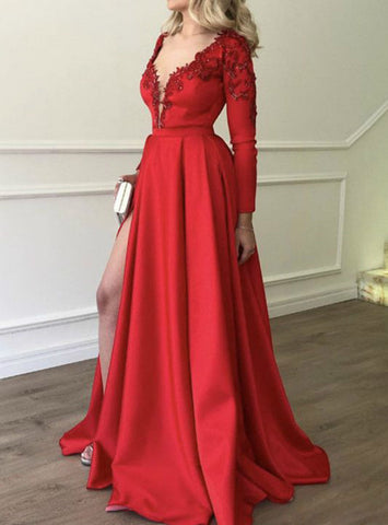 A-Line Red Satin V-neck Long Sleeve Appliques Prom Dress With Side Split