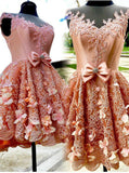 Pink Satin Appliques Beading Cap Sleeve With Bow Homecoming Dress