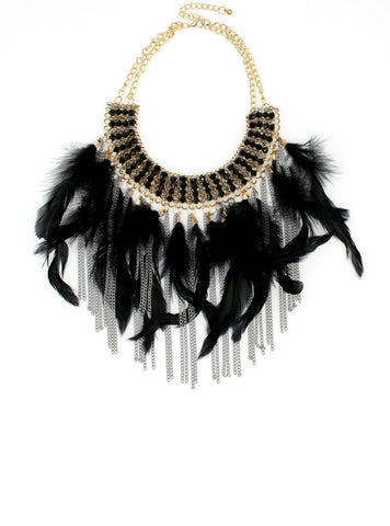Maxi Statement Pendants Necklaces Indian Jewelry Feather Chain
