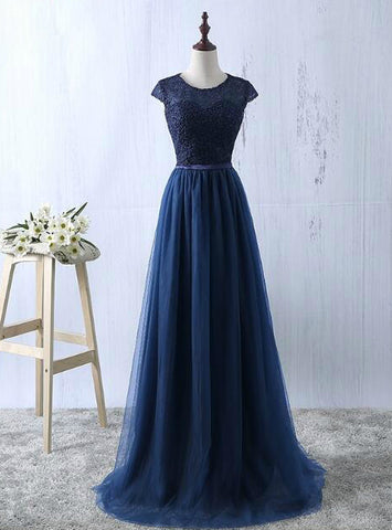 A-Line Tulle Cap Sleeve Lace Green Prom Dress