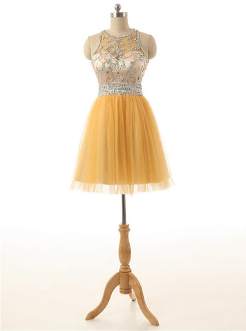 Short Yellow Tulle A Line Sequins Beading Homecoming Dresses