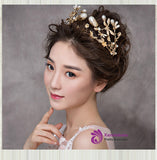 Cheap Baroque tiaras luxury queen crowns golden leaf big pearl