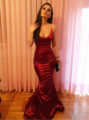 Sexy Red Mermaid Satin V-neck Long Prom Dress