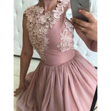 Delicate Satin Ball Gown with Appliques Jewel Neck Short Bridesmaid Dress