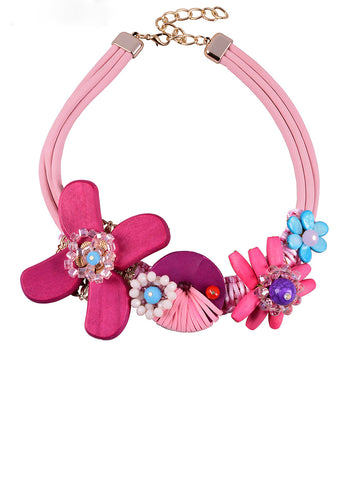 Pink Wood Bead Flower Women Necklace European