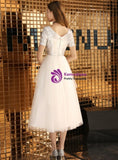 In Stock:Ship in 48 Hours A-Line Tulle Sequins V-neck Tea Length Prom Dress
