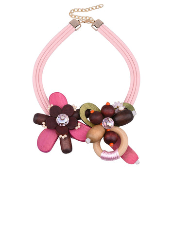 Fashion folk-custom Women Necklace Wood Bead Choker Necklace Crystal