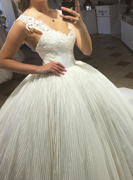 Attractive Wedding Dresses 2017 Sequins Tulle Lace Straps Ball Gown