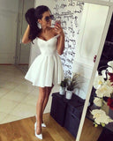 Pretty Off-The-Shoulder Short Satin Homecoming Dress