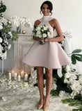 Sleeveless Short Pink Bridesmaid Dress With BowKnot