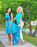 Cute Two Piece High Low Blue Long Homecoming Dress Prom Dress
